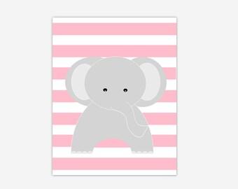 Elephant Baby Girl Nursery Canvas Wall Art Pink Gray Grey Prints Baby Girl Nursery Decor Safari Jungle Zoo Animals New Baby Shower Gift