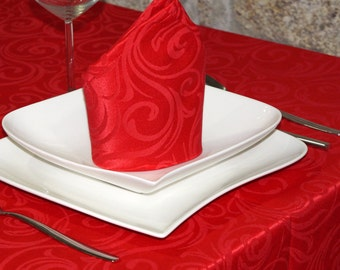 Luxury Red Tablecloth - Anti Stain Proof Resistant - Large sizes - Ref. Lyon