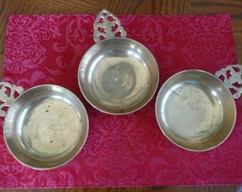 Brass, Set of Three Candy And Nut Dishes