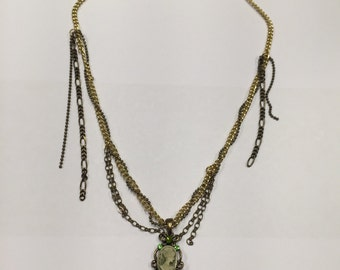 Green gold copper victorian steampunk necklace