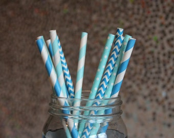 Paper Straws/Drinking Straws/Sky Blue Paper Straws/Baby Shower Drinking Straws/Blue and White Straws/Blue Paper Straws