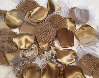 Antique Gold Rustic Petals/Rustic Flower Girl/Rustic Decor/Country Wedding Decorations/Barn Wedding Decor/Burlap Petals/Rustic Wedding