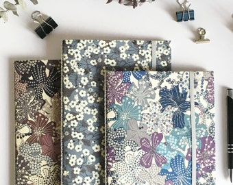 notebook, journal, diary, travelers notebook, personalised gift, agenda, floral, liberty, A4, A5, bullet journal, stationery,gift, birthday