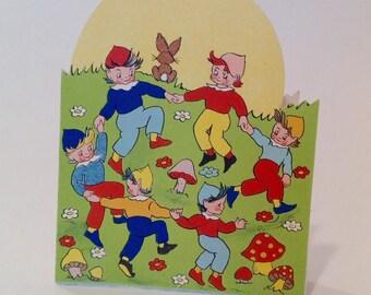 Vintage Elves dancing in moonlight Birthday card (unused)