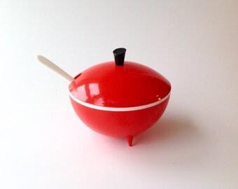Vintage 1950's red  jam/ sauce pot