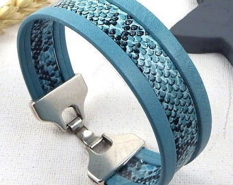 Bracelet leather cuff turuqoise snake and silver plated clasp