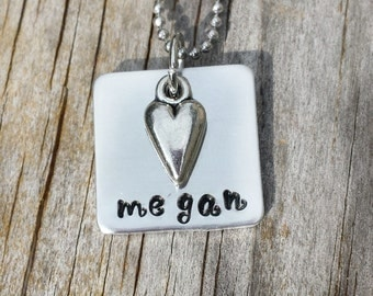 Personalized Handstamped Jewelry - Personalized Name Necklace - Custom Name Necklace - Mommy Jewelry - Boyfriend/Girlfriend/Spouse Necklace