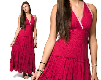 Long Smocked Peasant Dress - Red - 3091R
