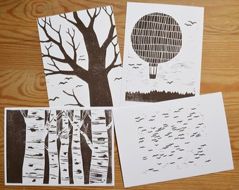 "Postcard set of 4 ""birds and trees"""