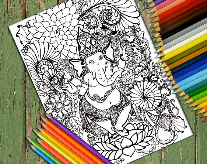 Printable Doodle Adult Coloring Page, PDF Zentangle Coloring Page, Line art, Printable Coloring Page, Download,