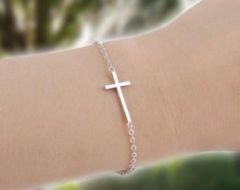 Celebrity Style Sterling Silver Sideways Cross Bracelet, silver sideways cross bracelet, sideways cross bracelet, silver cross bracelet