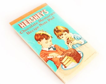 Hershey's Recipe Book, 1970s Chocolate Memories Recipe Note Pad Vintage Baking Instructions Collectible Candy Cake Ice Cream Treats Desserts