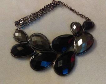 No. 256 Black Crystal Tear Drop Bib Necklace
