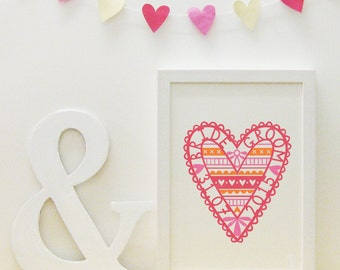 Pink wedding love heart print (personalisable/customisable)