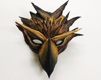 Hawk Mask, mask, bird of prey, bird mask, unique mask, paper mache, wearable