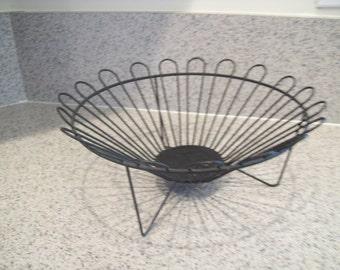 Wire Fruit Basket, Black Metal, Vintage