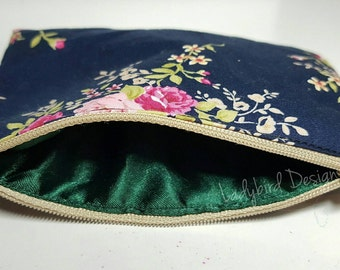 Coin Purse Floral Satin Lined