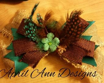 Wild Spirit ~Turquoise & Brown Feather Burlap Hair Bow