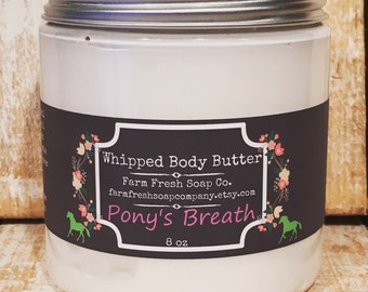 Natural Whipped Body Butter, Ponys Breath, Whipped Shea Butter, Whipped Avocado Butter, Gift for Horse Lover, Equestrian, Horse Show Kit
