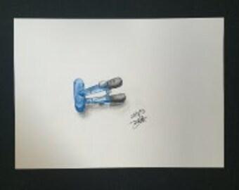 Drawing - Big Blue Clip