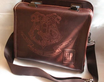 Harry Potter inspired PU Leather Bag /Purse satchel, Hand engraved with the Hogwarts School of Witchcraft and Wizardry Crest