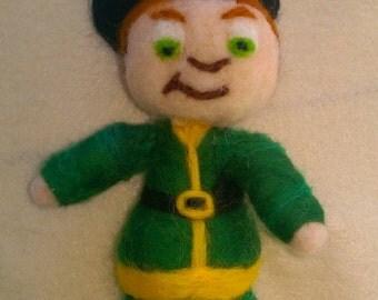 Lucky the Leprechaun, Needle Felted Doll