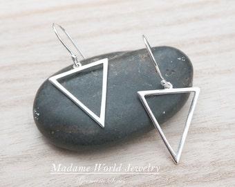Sterling Silver Triangle Earrings, Geometric Earrings, Inverted Triangle Earrings Triangle Dangle Earrings, Simple Geometric Earrings