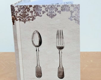 Blank cook book with table of contents, cutlery cover, recipe book