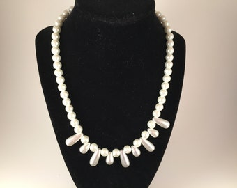 White Glass Beaded Necklace