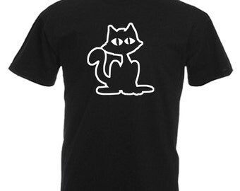 Cat Adults Mens Black T Shirt Sizes From Small - 3XL