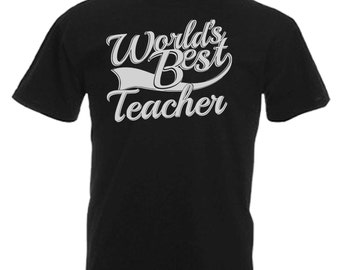 World's Best Teacher Gift Adults Mens Black T Shirt Sizes From Small - 3XL
