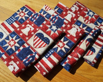 Americana Cloth Napkins, Large Reversible, Set of 4, American Folk, 4th of July, Red White and Blue, Liberty Bell, American Flag, Blue Back