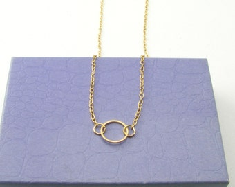 Gold Circle Necklace/ Circle Necklace/ Simple Everyday Necklace /14 Gold Necklaces