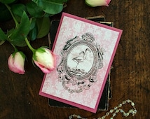 Gothic macabre sideshow greeting card - conjoined siamese twins - two headed flamingo design - blank inside, printed on recycled card.