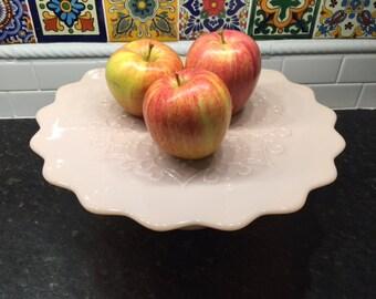 On Sale! Pink Fenton Spanish Lace Milk Glass Cake Stand Pedestal