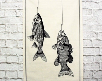 Fish hooked tea towel