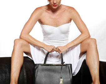 LAFatima Black Leather Bag/Office Bag/Oversize Tote Bag/Leather Bag/Large Leather Tote BagMade in Italy/LeatherWork Bag/Handmade Leather Bag