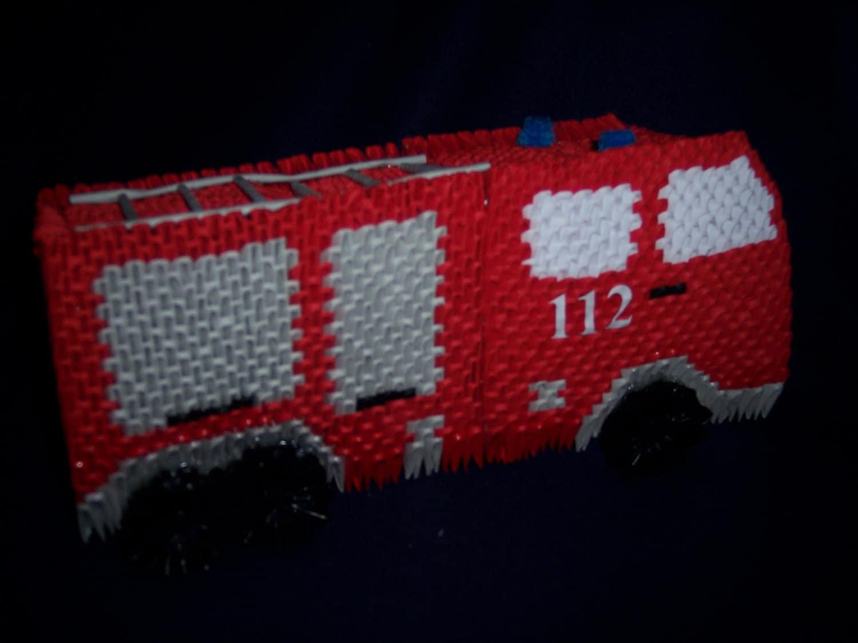 Camion de pompier 3D origami par PrateraGeschenkideen sur Etsy - photo#14