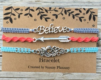 Bracelet Set, Adjustable Cord Macrame Friendship Bracelet, Inspiration Bracelet, Believe Bracelet, Gift for Her, Macrame Jewelry, Small Gift