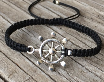 Ship Wheel Bracelet, Ship Wheel Anklet, Adjustable Macrame Friendship Bracelet, Small Gift, Nautical Jewelry, Boat Wheel, Nautical Bracelet