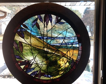 Large Stained Glass Round Framed Window
