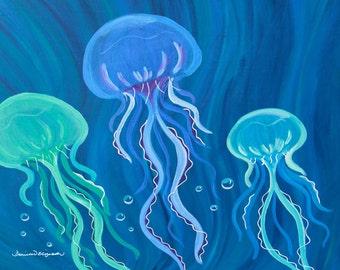 "Original Fine Art Giclee Print 11x14 ""Blue Jelly Flow"""