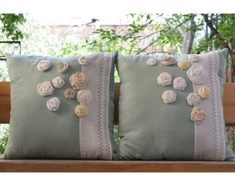 SET of 2 Decorative Handmade Pillow Cover Set with Handmade Flowers, 100% Cotton, 18x18 Pillow Covers, Vintage Buttons, ECO Friendly