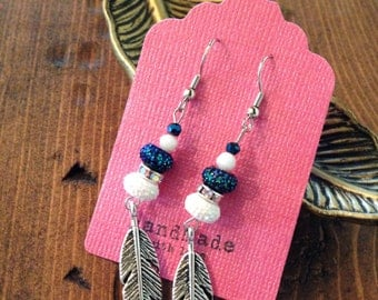 Blue and White Feather Earrings