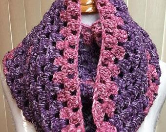 Crochet Cowl, Crochet Scarf, Granny Stitch Cowl, Cowl Scarf, Purple Scarf, Granny Stitch Scarf, Crocheted Scarf, Cowl, Scarf