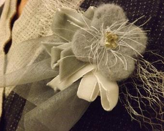 Flower brooch, handmade needle felted