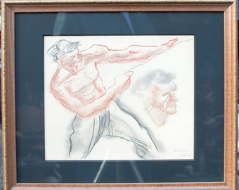 "Zoltan Sepeshy ""Man with Rope"" Conté Crayon on Paper 1974"
