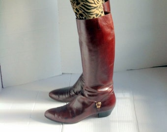 sz 11 4a vintage FERRAGAMO brown leather boots made in ITALY