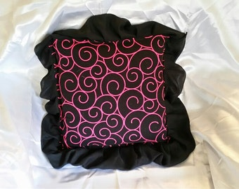 Throw Pillow- Pink and Black