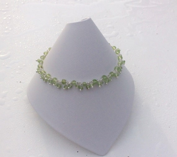 Peridot and Sterling Silver Cluster Bracelet